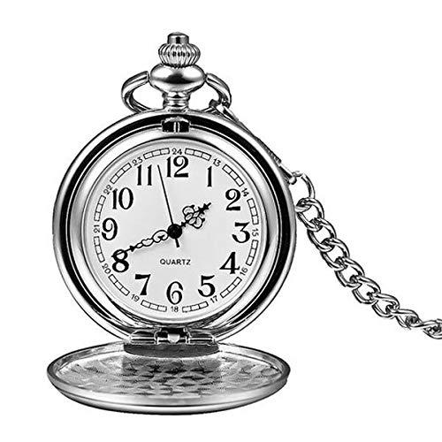 Moonlight Star 2020 Logotipo de plata de encargo Smooth bolsillo del cuarzo del reloj de bolsillo cadena de los hombres collar de plata de la manera de las mujeres pendientes de Steampunk de los númer