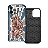 Hot Boutique Shockproof Case for iPhone 12 Series, Theme Adopt - Vintage Label with English Bus On Grunge Background Retro Hand Drawn Sketchy Artwork Es Blue Red Beige