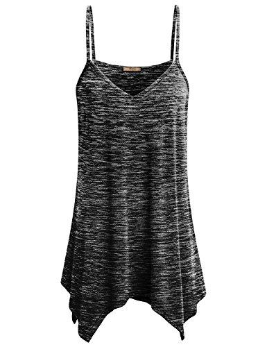 Miusey Tunic Tank Tops for Women Ladies Handkerchief Hem Fowly Top Casual Summer Spaghetti Strap Camisoles Cotton XL Space Dye Black