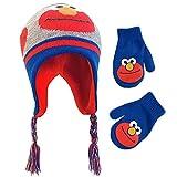 Sesame Street Winter Hat, Gloves or Toddlers Mittens, Elmo Baby Beanie for Boy GirlAges, Blue/Grey/Orange, Kids Age 2-4