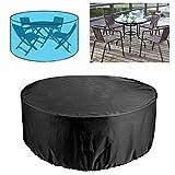 MILECN Patio Cubrir los Muebles, Impermeable UV Resistente al desgarro y Resistente a la decoloración Mesa Redonda cenar al Aire Libre Juego de Tapas, Negro,185 * 110cm