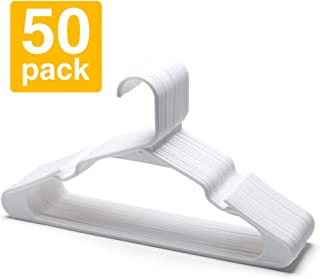 Pretigo Plastic Hangers -50 Pcak -White Plastic Clothes Hangers for Adult Standard Plastic Clothing Hangers with Notches for Trousers Skirt Suit