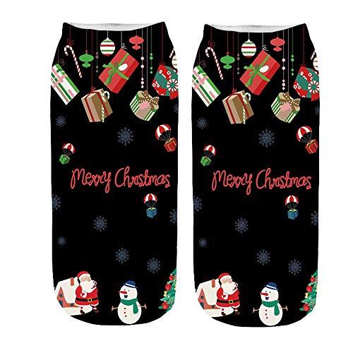 Calcetines navideños estampados en 3D Calcetines estampados Feliz navidad Copos de nieve Calcetines Lindo de Algodón de Navidad calcetín de Dibujos Animados Reno de Santa Claus Unisex (Negro,Azul)