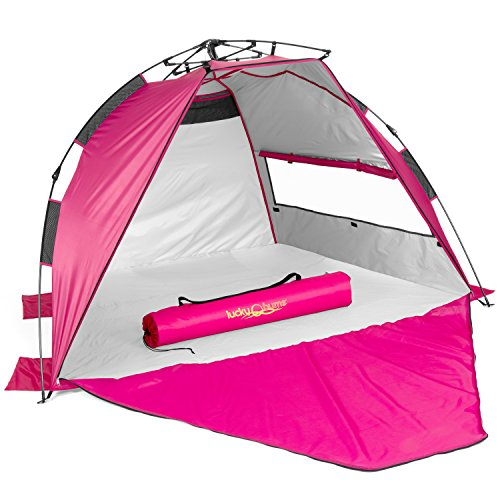 Lucky Bums Easy Up Beach Tent Sun Shade, UV Protection, UPF 50+, 2-3 Person, Quick Assembly, Waterproof, Pink