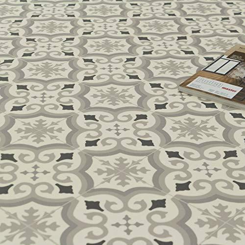 PVC Bodenbelag Retro Fliese Weiss Grau Schwarz mit Textilrücken Musterstück in DIN A4