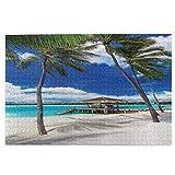 Rompecabezas de 1000 piezas para adultos puesto de playa vacío hamaca entre palmeras playa con vibrante cielo de verano imagen rompecabezas para niños niñas mayores regalos