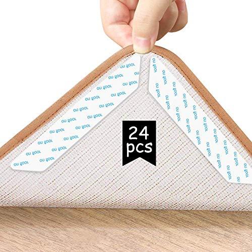 Teppichgreifer Antirutschmatte 24 Stück Teppich Antirutschunterlage Rug Grippers Rutschfester Teppichunterlage Anti-Curling Rug Gripper Teppichunterlage Doppelseitige Washable Wiederverwendbar