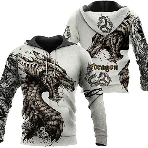 Fandao Unisex Hoodie, Keltischer Drache 3D Insgesamt Bedrucktes Sweatshirt, Tattoo Und Dungeon Dragon, Pullover, Jacke, Odin Symbol, Trainingsanzug, Laufkleidung,B,XXL