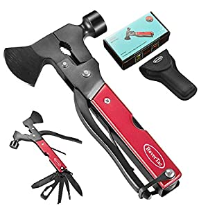 RoverTac Multitool Camping Accessories Survival Gear and Equipment 14 in 1 Hatchet with Knife Axe Hammer Saw Screwdrivers Pliers Bottle Opener Durable Sheath Gifts for Men Women