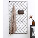DWW Nordic einfache schmiedeeisen Mode Garderobe kreative Wohnzimmer Wand Hause aufhänger Hause Wand hängen Gitter aufhänger (Farbe : Large Size 68cm*122cm (Send 10 Hooks))