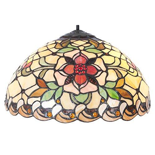 LumiLamp 5LL-5845 - Paralume Art Deco Tiffany, Ø 40 x 21 cm, in Vetro colorato Decorativo, Realizzato a Mano, Paralume in Vetro