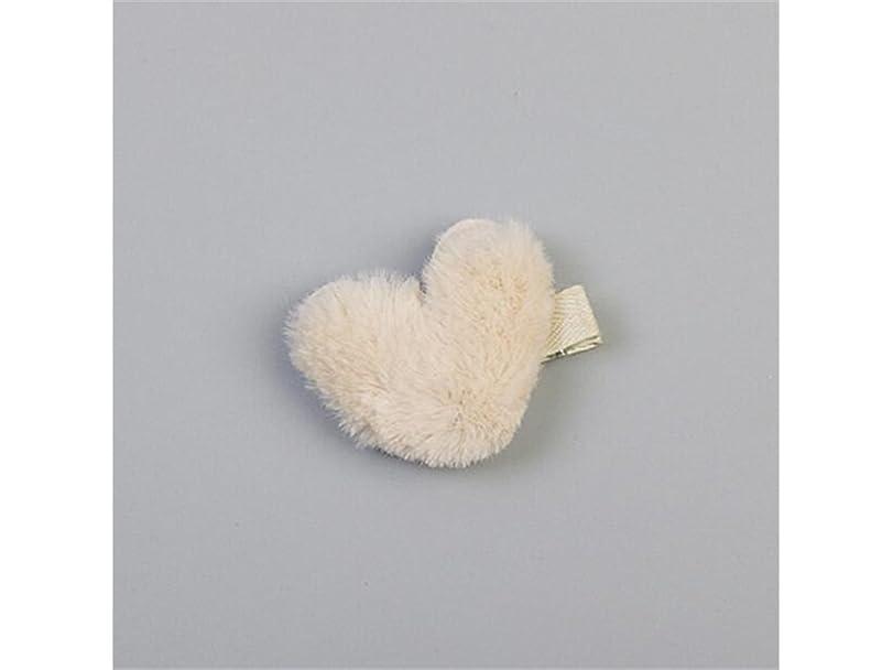 繕うジェーンオースティン回転Osize 美しいスタイル ぬいぐるみラブハートヘアピンダックビルクリップサイドクリップヘアアクセサリー(ベージュ)