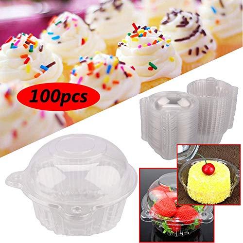 Caja transparente desechable de plástico para cupcakes, diseño de cabeza de gato, 100 unidades, caja individual de plástico transparente para magdalenas o cupcakes, 112 x 80 mm