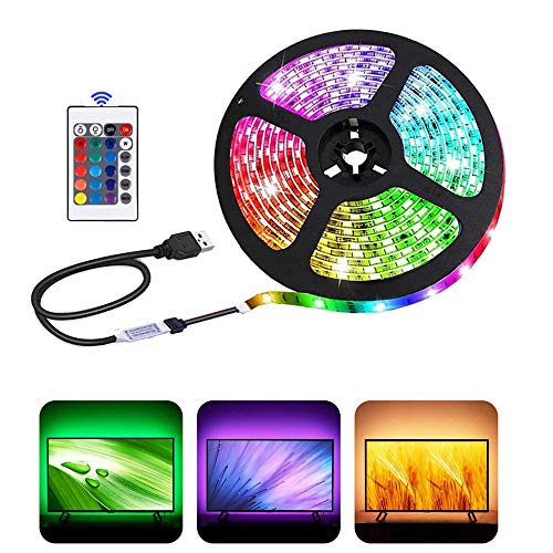 USB LED Strip Lights with 24 Keys Remote, 5050RGB, 5 Volts,Safe and Touchable,DIY Indoor/Outdoor (1m/3,28ft)