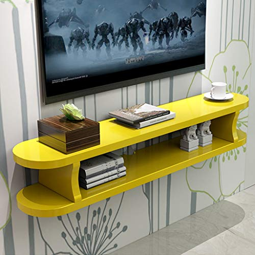 GDF-FLOATING SHELVES Woonkamer Entertainment Console Muur gemonteerde TV kabinet Opbergkast Boekenkast Multi-kleur Optionele Wandkast Woonkamer Wandplank, 100cm, Geel