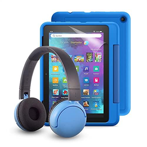 Fire HD 8 Kids Pro-Tablet (kindgerechte Hülle in Himmelblau) + BuddyPhones PopTime-Bluetooth-Headset (blau, Altersklasse: 8-15 Jahre) + NuPro-Bildschirmschutzfolie (2er-Pack)