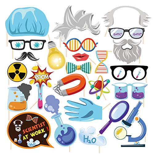CC HOME Chemistry Science Party Photo Booth Props,Chemist Microscope Science Lab Beakers Measuring Cups Props for School,Scientist,Chemistry,Teacher, Inventor Party Supplies Decor