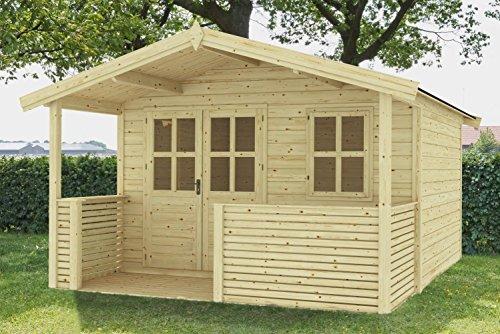 Gartenhaus G110 mit Terrasse inkl. Fußboden - 28 mm Blockbohlenhaus, Grundfläche: 10,20 m², Satteldach