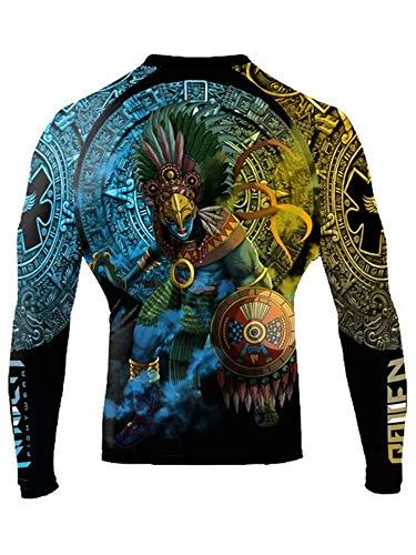 Raven Fightwear Men's Huitzilopochtli Aztec Rash Guard MMA BJJ Black Large