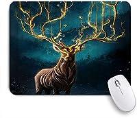 VAMIX マウスパッド 個性的 おしゃれ 柔軟 かわいい ゴム製裏面 ゲーミングマウスパッド PC ノートパソコン オフィス用 デスクマット 滑り止め 耐久性が良い おもしろいパターン (木の油絵と鹿の角)