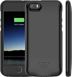 iPhone 5 /5S /SE Battery Case, Euhan 4000mAh Rechargeable Portable Power Charging Case iPhone 5 5S SE Extended Battery Pack Charger Case Ultra Thin -Black [ Not Compatible iPhone 5C ]
