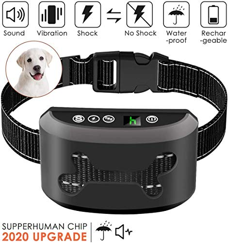 Bark Collar, 2019 Upgrade Version, Harmless Bark Collar for Small Medium Large Dog, Rechargeable Anti bark Collar, Beep Vibration and No Harm Shock Smart Detection Module