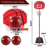 耐久の鉄鉄のフープリフティングバスケットボールフープ - ホーム屋内屋外ポータブルシューティングバスケットボールスタンド (Color : 2.4 meters high)