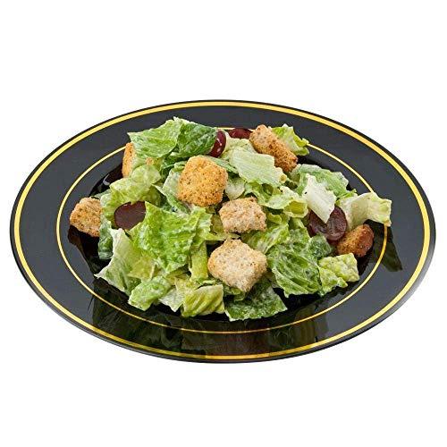 Pack de 12 elegantes platos de plástico duro, platos de vajilla de plástico – negro con diseño de oro – 22,8 cm (9 pulgadas)
