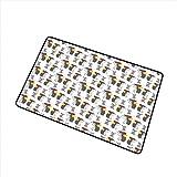 Alfombrilla de manzana Alfombrillas de ratón y erizo de dibujos animados divertidos Manzanas para llevar Diseño de niños felices y juguetones Alfombrilla de puerta es inodoro Gris Rojo Amarillo