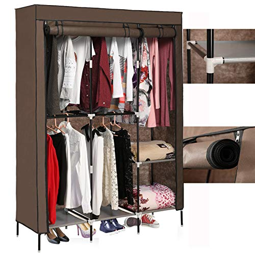 elifine Portable Wardrobe Clothes Closet Storage Organizer with Non-Woven Fabric,Freestanding Portable Closet Strong Shelves,Quick and Easy to Assemble