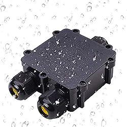 Abzweigdose, Anicoll IP68 wasserdicht Kabelverbinder, größere 3-Wege-Verbindungsdose Erdkabel Schwarz elektrischer Außenverteilerdose, M25 Kabelverschraubung Ø4mm-14mm ABS + PVC, TÜV, VDE (1 Stück)