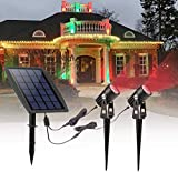 Solar Spot Light Outdoor, Red Led Solar Powered Spotlight, Waterproof Landscape Wall Tree Lighting Security Lamps for Outside Garden, Backyard, Lawn, Pathway, Driveway Decoration