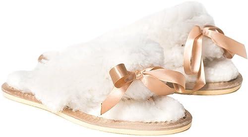 Celtic & Co femmes Open Toe Flip Flop Style British Sheepskin Slippers