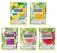 マンナンライフ 蒟蒻畑 5種 レモン味・温州みかん味・ぶどう味・白桃味・りんご味(25g×12個) 合計5袋
