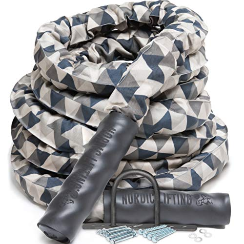Battle Rope for CrossFit & Undulation Training - w/ Anchor Kit for Gym Exercise by Nordic Lifting 1.5 in x 50ft