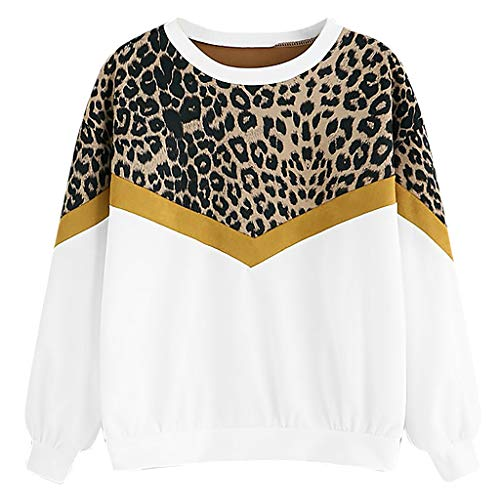Geilisungren Damen Pullover Lange Ärmel Tops Mode Leopardenmuster Patchwork Sweatshirt Frauen Casual O-Ausschnitt Oberteil Langarmshirt Lose Blusen Streetwear