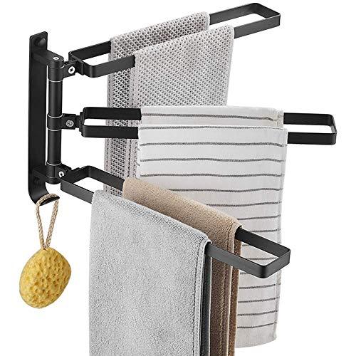 APAN Toallero de Mano telescópico Giratorio de 3 Brazos con riel de Toalla de Aspecto de Aluminio,toallero de Cocina de baño montado en la Pared Negro