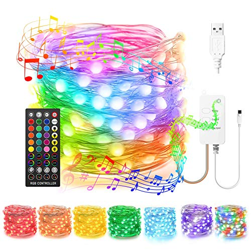 Popotan DreamColor LED Fairy Lights USB 16FT RGBIC Waterproof Copper Wire String Lights for Wedding Halloween Christmas, Music Sync, 8 Modes Twinkle Lights for Indoor Outdoor Room Bedroom Decor