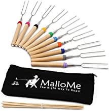 MalloMe Marshmallow Roasting Sticks Set of 10 Telescoping Rotating Smores Skewers & Hot Dog Fork 32 Inch Kids Camping Campfire Fire Pit Accessories   Free Pouch, 10 Bamboo & Marshmallow Sticks Ebook
