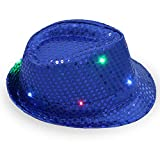 ZHONGYU Glitzer blinkende Pailletten Jazz Cap, Blinkender Fedora Hut Weihnachtsparty Hut Bunte LED Leuchtende Tanzhut