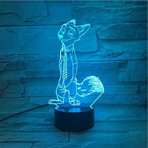 Nur 1 Stück ZootopiaAnime Film Fuchs Polizei Red Fox 3D Lampe Powered Cutomized Geschenk für Infant Office Dekorative Hologramm Led Nachtlichtlampe
