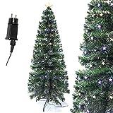 Arcoiris® - Árbol de Navidad de fibra óptica con LED, árbol de Navidad de fibra artificial, verde, blanco, 60 cm - 180 cm (180 cm, fibra de estrella)