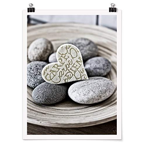 Bilderwelten Poster Carpe Diem Heart with Stones Brillante 100x75cm