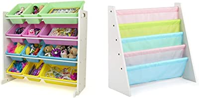 Humble Crew, White/Pastel Kids' Toy Storage Organizer & Tot Tutors Kids' Book Rack, White/Pastel (Pastel Collection) (WO594)