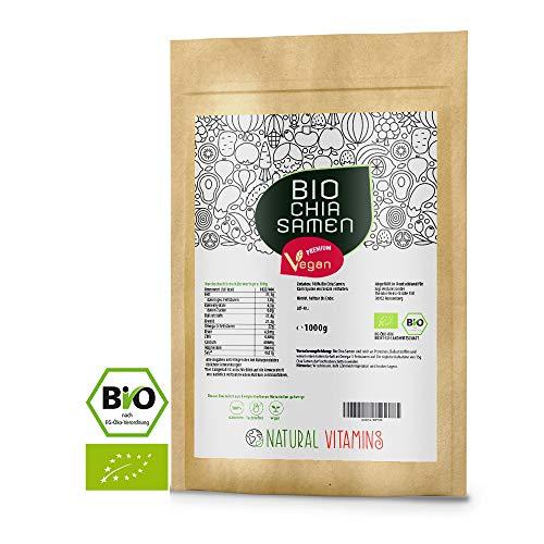NATURAL VITAMINS® Bio Chia Samen 1 kg I Laborgeprüfte Qualität 100% naturbelassen I Bio und Vegan...