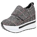 Damen Wedges mit Keilabsatz Sneakers Mode Freizeitschuhen Dicke Boden Plateauschuhe Outdoor gemütlich Laufschuhe, Braun, 38EU (Herstellergröße: 39)