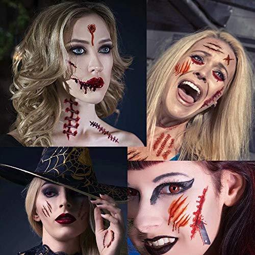 Xinmeng 30 Fogli Tatuaggi temporanei Zombie Scars Tatuaggi Halloween Zombie ScarsTemporaneo Impermeabile Horror Realistico, Halloween Partito Decorazioni Puntello e Adesivo Cosplay