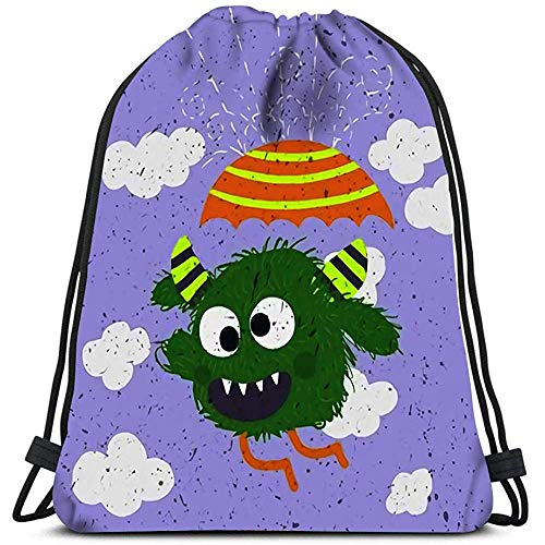 Dingjiakemao Cinch Rugzak Gek Monster Holding Paraplu Gelukkig Grappig Kinderachtig Little Met In De regen Leuke Waszak Gym Yoga Tas