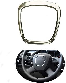 Trapezoid Car Steering Wheel Sticker Aluminum Body Emblem Trim Fit For Audi A3/A4L/A6L S4/Q3/Q5 (Silver)