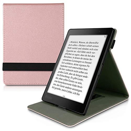 kwmobile Custodia Verticale Compatibile con Kobo Aura One - Cover con Fascia Mano e leggìo - Case Custodia e-Reader Flip